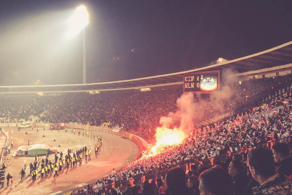 Stadion Rajko Mitic, Pyro im Gästeblock